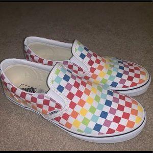 Rainbow checkered vans